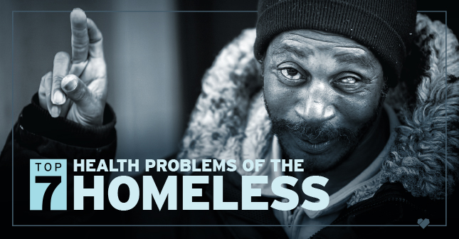 A man experiencing homelessness crossing his fingers with the text, 'Top 7 Health Problems of the Homeless'