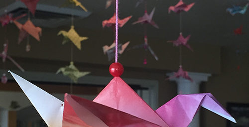 One of the more than 1000 cranes folded by residents of Clare of Assisi