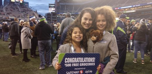 Renee and her daughters at Seahawks game