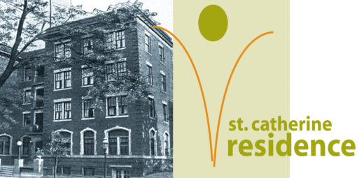 old photo of St Catherine residence and logo of the property