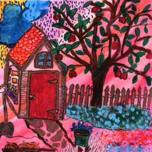 bright colored picture of house apple tree and garden with pink and red
