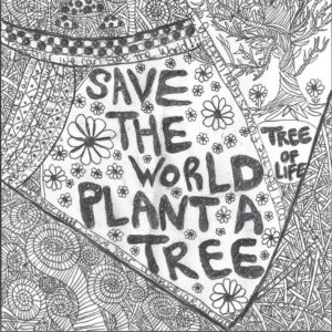 black and white sketch of geometric designs with the words save the world plant a tree