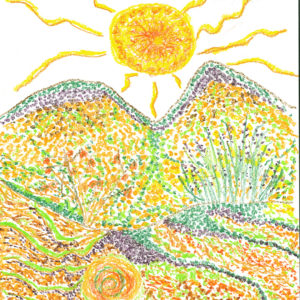 brightly colored with dots and designs mountain landscape with sun