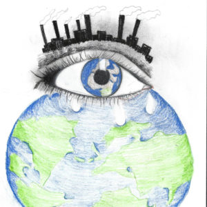 pencil drawn earth with an eye and the eyelashes are a skyline