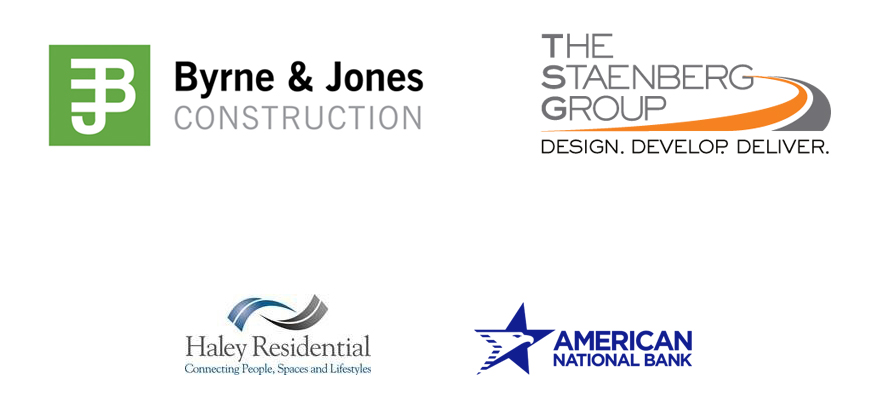 Graphic with Byrne &Jones, TSG, Haley Residential and American National Bank logos