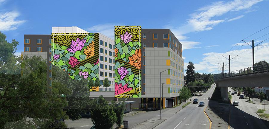 Rendering of Lotus mural on building