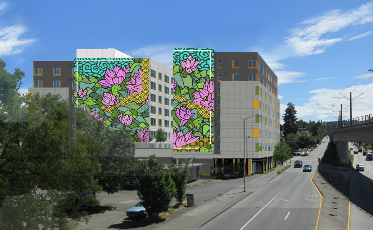 Rendering of lotus mural on building