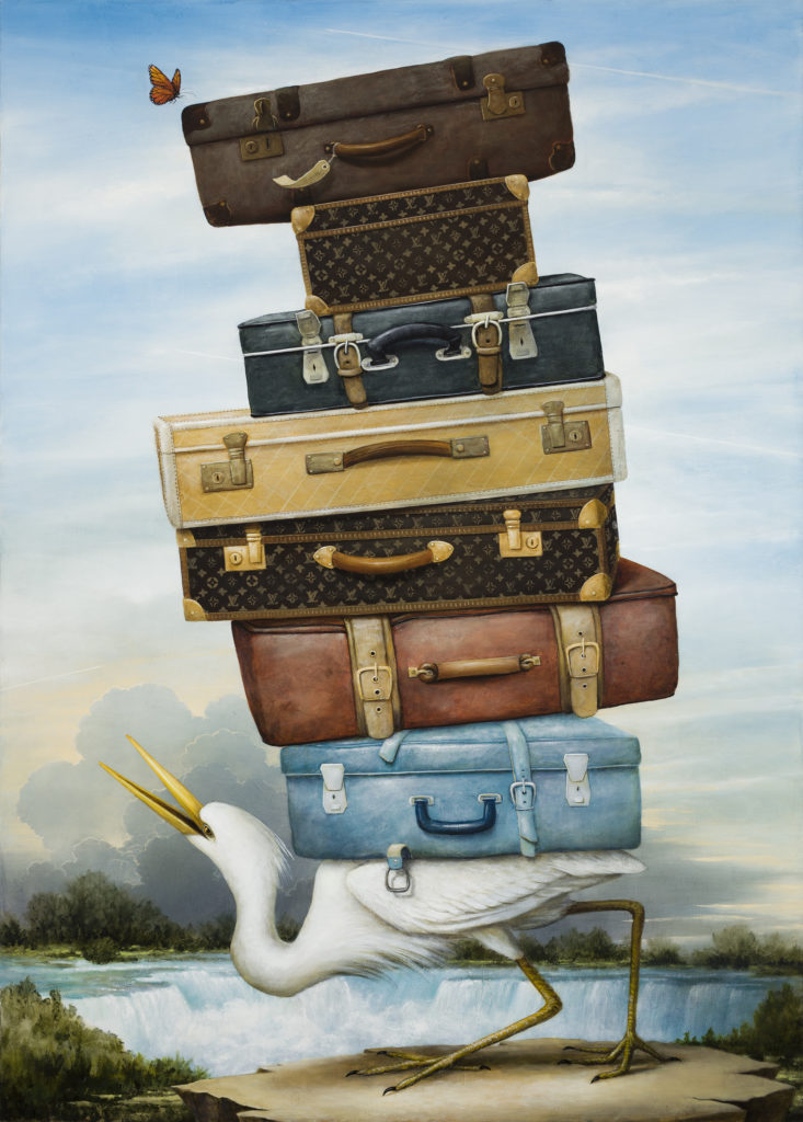painting of stork carrying suitcases