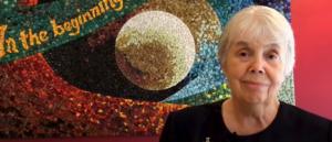 Sister Linda Werthman in front of mosaic