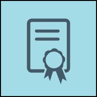 certificate in blue circle