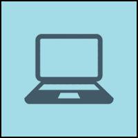 laptop in blue circle