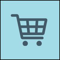 shopping cart in blue circle
