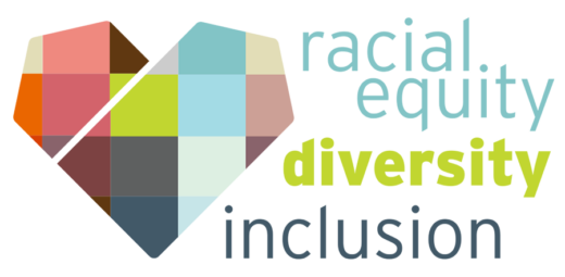 Racial Equity, Diversity, Inclusion with a patchwork Mercy Housing heart logo