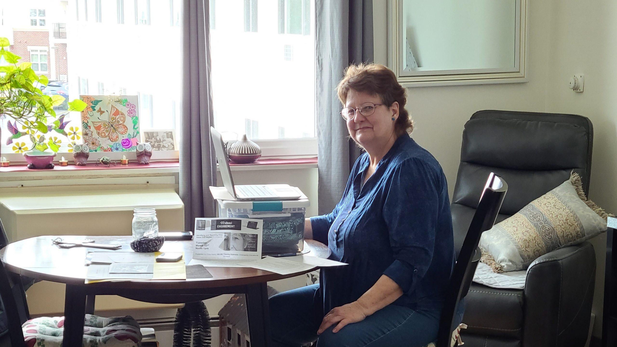 resident josephine at her desk